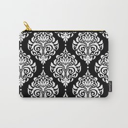 Black Monochrome Damask Pattern Carry-All Pouch