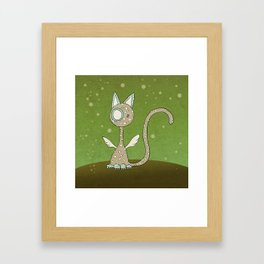 Winged polka-dotted beige cat and spring Framed Art Print