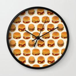 Burger Pattern Fast Food Burger Lovers Wall Clock