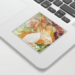 Alphonse Mucha Spring Floral Vintage Art Nouveau Sticker