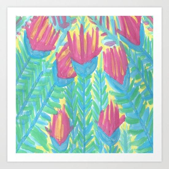 Lotus Garden Abstract Art Print