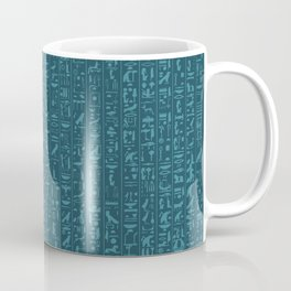 Hieroglyphics Moonstone BLUE / Ancient Egyptian hieroglyphics pattern Coffee Mug