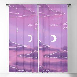 Purple Sunset View Blackout Curtain
