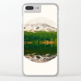 Mid Century Modern Round Circle Photo Graphic Design Reflective Snow Mountain Green Forest Clear iPhone Case