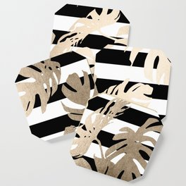 Simply Tropical Palm Leaves on Stripes Coaster