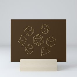 Outline of Dice in Gold + Brown Mini Art Print