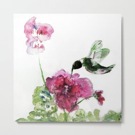 Razzberry Hummingbird watercolour by CheyAnne Sexton Metal Print