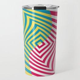 Colorful distorted Optical illusion art Travel Mug
