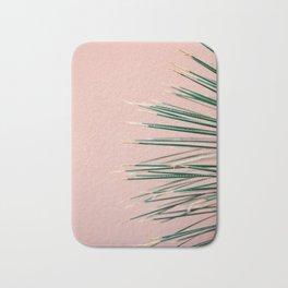 Green on Coral | Botanical modern photography print | Tropical vibe art Bath Mat