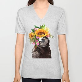 Sloth with Sunflower Crown Unisex V-Neck
