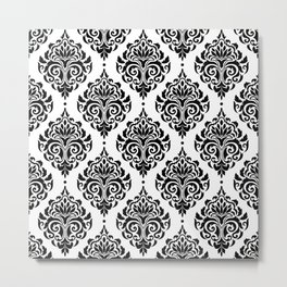 Black and White Damask Metal Print