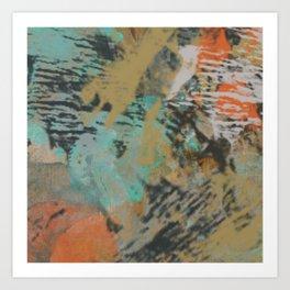 Orange, Aqua, and Natural Abstract Art Print