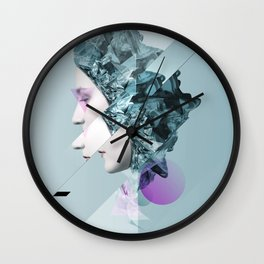 Faces Blue 02 Wall Clock