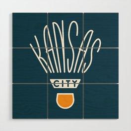 Kansas City Shuttlecock Type - White Wood Wall Art