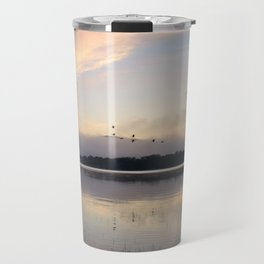 Lifting Up: Geese Rise at Dawn on Lake George Travel Mug