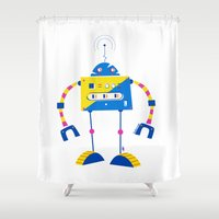 robot Shower Curtains featuring Robot by Marcelo Badari
