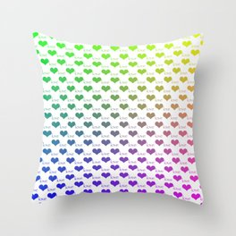 Heart Love Ombre Rainbow Pattern Throw Pillow