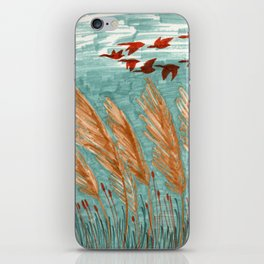 Geese Flying over Pampas Grass iPhone Skin