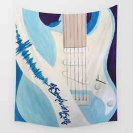 Blue Guitar and Strap Wall Tapestry