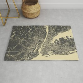 New York #2 map yellow Rug
