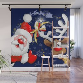 Merry Christmas Happy Santa and Reindeer Wall Mural