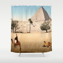 Vintage Pyramid : Grand Pyramid Gizeh Egypt 1895 Shower Curtain