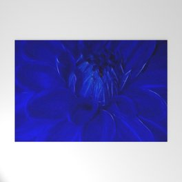 Royal Blue Fractal dahlia Welcome Mat