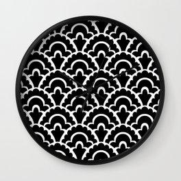 Fan Pattern Black and White 116 Wall Clock