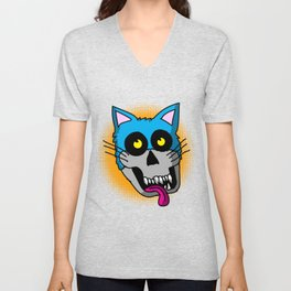 Zombie Cat Graphic Unisex V-Neck