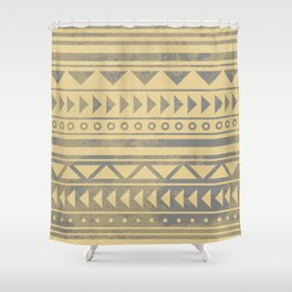 Ethnic geometric pattern with triangles circles and lines Shower Curtain