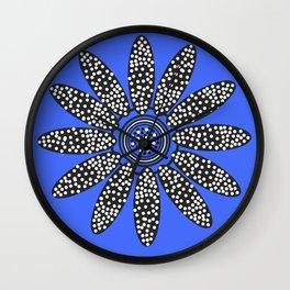 Daisy dot, blue, black, white Wall Clock