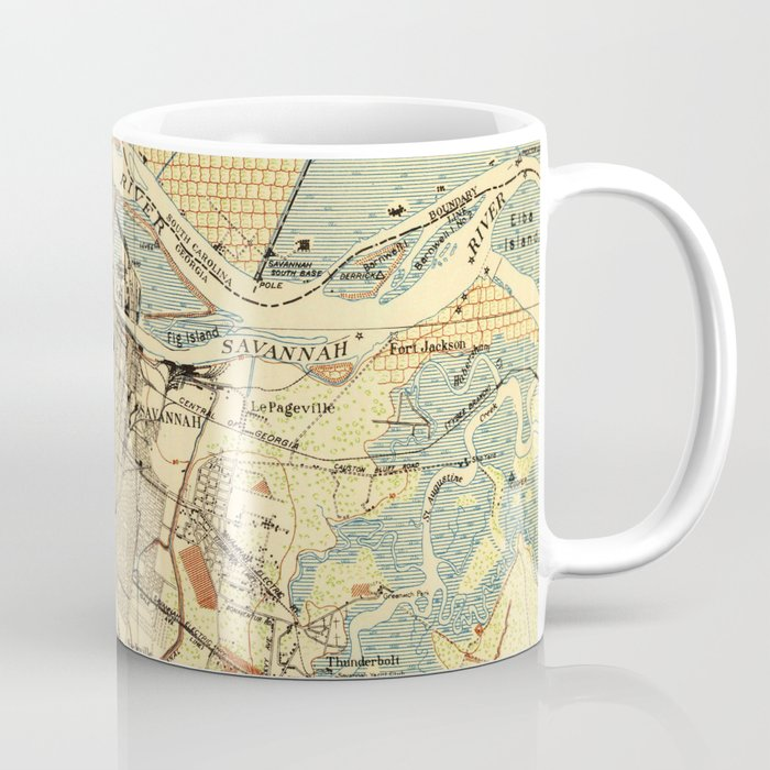 Vintage Map Of Savannah Georgia 1942 Coffee Mug By Bravuramedia Society6