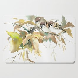 Sparrows and Fall Tree, three birds, brown green fall colors Cutting Board