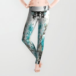 Turquoise & Gray Flowers Leggings