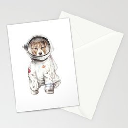 Laika Dog Watercolor Illustration Space Pup Stationery Cards
