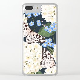 White Summer Hydrangea Black & White Butterflies Floral Kingdom Sumptuous Fantasy Flower Pattern Clear iPhone Case