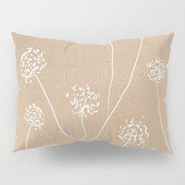 Dandelions flowers illustration on beige kraft Pillow Sham