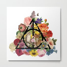 Floral Deathly Hallows Owl and Stag - Black Metal Print