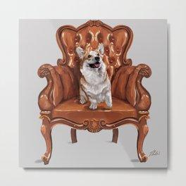 Corgi in Chair Metal Print