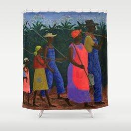American American Masterpiece 'Field Workers' by Ellis Wilson Shower Curtain