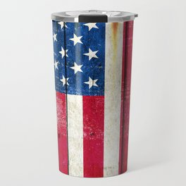 Vintage American Flag On Old Barn Wood Travel Mug