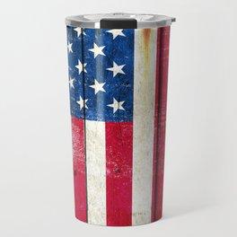 Vintage American Flag On Old Barn Wood Travel Mug