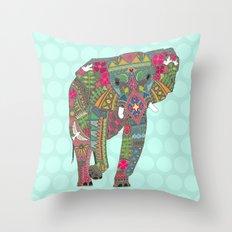 painted elephant aqua spot Throw Pillow