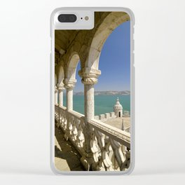 The Torre de Belem tower, view through arches to the river Tejo, Lisbon, Portugal Clear iPhone Case