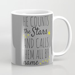 Psalm 147:4 Christian Bible Verse Star Design Coffee Mug