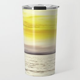 warm sunset sky with ocean view Travel Mug