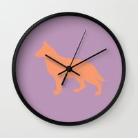 german shepherd Wall Clocks featuring German Shepherd by Erin Rea