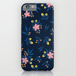 Pink Florals on Blue iPhone Case