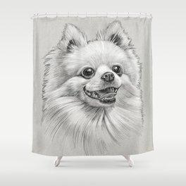 Smiling Dog (Pomeranian) Shower Curtain