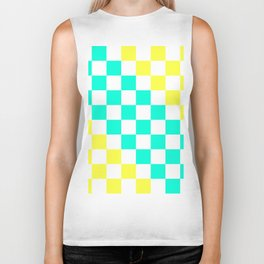 Cheerful Aqua & Yellow Checkerboard Pattern Biker Tank